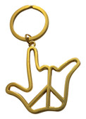 "OUTLINE "" PEACE WITH SIGN HAND I LOVE YOU "" KEYCHAIN (GOLD OR SILVER)"