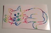 Cat Sign  I LOVE YOU  Outline Decak ( Rainbow)