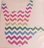 AUTO DECALS STICKER LARGE FULL HAND I LOVE YOU (CHEVRON RAINBOW)