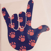 AUTO DECALS STICKER LARGE FULL HAND I LOVE YOU PAWS  ORANGE/BLACK)