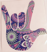 AUTO DECALS STICKER LARGE FULL HAND I LOVE YOU (PAISLEY PURPLE SHADE)