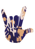 AUTO DECALS STICKER LARGE FULL HAND I LOVE YOU (PURPLE, GOLD,  AND BLACK CAMO )