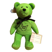 BEANIE BEAR WITH SIGN I LOVE YOU HAND ( LIME BEAR)