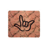 """MOUSE PAD WITH SIGN LANGUAGE """" I LOVE YOU""""  PINK TREE  WITH BLACK OUTLINE HAND"""