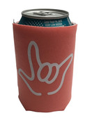 "KOOZIES FOAM CAN COOLER WITH SIGN LANGUAGE HAND OUTLINE "" I LOVE YOU"" (CORAL)"