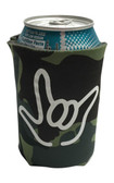 "KOOZIES FOAM CAN COOLER WITH SIGN LANGUAGE HAND OUTLINE "" I LOVE YOU"" (GREEN CAMO)"