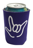 "KOOZIES FOAM CAN COOLER WITH SIGN LANGUAGE HAND OUTLINE "" I LOVE YOU"" (PURPLE)"
