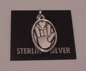 I LOVE YOU OVAL STERLING SILVER PENDANT