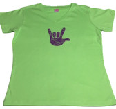 PURPLE LACE (SMALL) WITH SIGN LANGUAGE HAND (PICK COLOR SHIRT) ADULT SIZE  V NECK