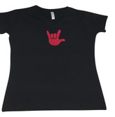 DOT (PINK) WITH SIGN LANGUAGE HAND (SMALL ) ADULT SIZE V NECK