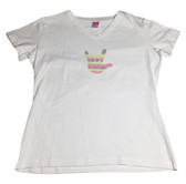 """WHITE SHIRT V - NECK WITH SIGN LANGUAGE DRAW HAND """" I LOVE YOU"""" ( PURPLE, LIME, AND PINK DOT RAINBOW) ADULT SHIRT"""
