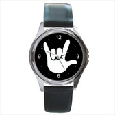 WATCHES CIRCLE WITH WHITE I LOVE YOU FULL HAND (BLACK BACKGROUND) SILVER