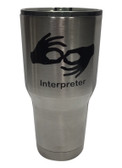 "STAINLESS STEEL TUMBLER 30 OZ WITH SIGN LANGUAGE "" INTERPRETER"" (BLACK)"