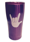 "PURPLE STAINLESS STEEL TUMBLER 20 OZ WITH SIGN LANGUAGE "" I LOVE YOU "" (WHITE HAND)"