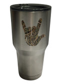 "STAINLESS STEEL  TUMBLER 30 OZ WITH SIGN LANGUAGE "" I LOVE YOU HAND "" (LEAF)"