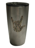 "STAINLESS STEEL TUMBLER 20 OZ WITH SIGN LANGUAGE "" I LOVE YOU HAND "" (LEAF)"