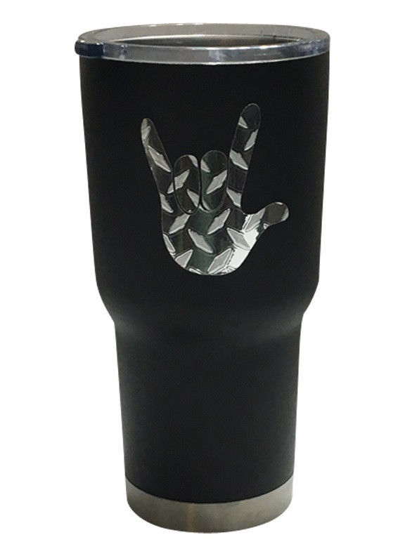 3b5e9703fdc STAINLESS STEEL (BLACK) TUMBLER 30 OZ WITH SIGN LANGUAGE