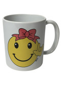 "MUG CERAMIC SIGN LANGUAGE "" I LOVE YOU"" (SMILEY WITH BOW)"
