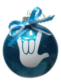"DISC SHAPES (like an M & M)3.5 INCHES GLITTER ORNAMENTS  WITH SIGN LANGUAGE HAND "" I LOVE YOU"" (BLUE GLITTER )"
