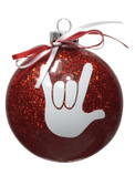 """DISC SHAPES (like an M & M) 3.5 INCHES GLITTER ORNAMENTS  WITH SIGN LANGUAGE HAND """" I LOVE YOU"""" (RED GLITTER )"""