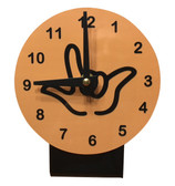 DESK CLOCK , SIGN LANGUAGE WITH BLACK OUTLINE HAND (LIGHT BROWN BACKGROUND)