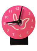DESK CLOCK , SIGN LANGUAGE WITH WHITE OUTLINE HAND (PINK BACKGROUND)