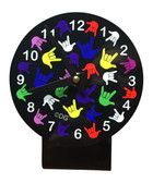 DESK CLOCK (MULTI COLOR FULL HAND) BLACK BACKGROUND
