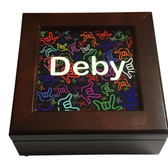 Wooden Keepsake Boxes Custom Name with Sign Language Outline Color Hands (Mahogany Boxes)