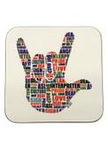 DRINK COASTER SQUARE PAD SIGN LANGUAGE ASL WORDS  ( WHITE BACKGROUND / ASL WORDS HAND)  HARDBOARD COASTER