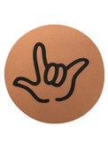 "DRINK COASTER CIRCLE PAD SIGN LANGUAGE OUTLINE HAND "" I LOVE YOU""  ( SALMOM BACKGROUND / BLACK HAND)"