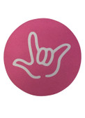 """DRINK COASTER CIRCLE PAD SIGN LANGUAGE OUTLINE HAND """" I LOVE YOU""""  ( PINK BACKGROUND / WHITE HAND)"""
