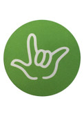 """DRINK COASTER CIRCLE PAD SIGN LANGUAGE OUTLINE HAND """" I LOVE YOU""""  ( LIME BACKGROUND / WHITE HAND)"""