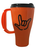 "TRAVEL MUG 16 0Z, ORANGE MUG WITH SIGN LANGUAGE OUTLINE HAND "" I LOVE YOU"" BLACK HAND"