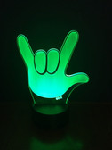 "FULL HAND "" I Love You "" Sign Language LED Night Light  (Automatically Color Changing)  NEW  REMOTE CONTROL"