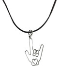 """SIGN LANGUAGE HAND """" I LOVE YOU"""" WITH HEART WIRE PENDANT BLACK CORD ADJUSTMENT 18"""" - 24"""""""