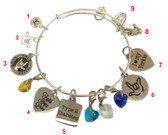 Wire Bangle Bracelets ( Pick your choice charms) Not Set (Only each piece).