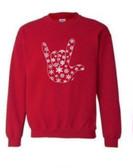 """Christmas Snowflake Sign Language """" I LOVE YOU"""" SweatShirt (Crew Sweatshirt)"""