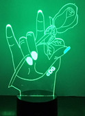 "HAND WITH ROSE "" I LOVE YOU SIGN LANGUAGE "" LED NIGHT LIGHT (AUTOMATICALLY COLOR CHANGING)"