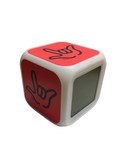 "CUBE CLOCK WITH COLOR CHANGEABLE GLOWING LED SIGN LANGUAGE HAND ""I LOVE YOU"" ( RED WITH BLACK HAND)"