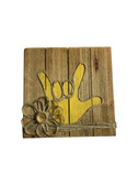"""Wooden Pallet Block Wall Decor with Sign Language """" I LOVE YOU"""" hand (Yellow)"""