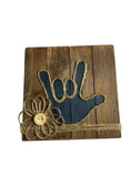 "Wooden Pallet Block Wall Decor with Sign Language "" I LOVE YOU"" hand (Navy)"