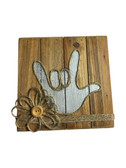 "Wooden Pallet Block Wall Decor with Sign Language "" I LOVE YOU"" hand (Silver)"