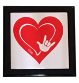 "Wooden Keepsake Box with Red Heart with Sign Language "" I LOVE YOU"" Full hand (Black Box)"
