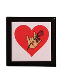 "Wooden Keepsake Box with Red Heart with Sign Language "" I LOVE YOU"" with Rose &Hand (Black Box)"