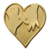 Interpreter hand with heart  Pin  (gold shinny)