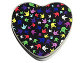 "HEART TINS WITH SIGN LANGUAGE "" I LOVE YOU"" MULTI-COLORS HANDS (LARGE SILVER) NOT INCLUDE CANDIES"