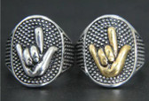 """Sign Language """" I LOVE YOU"""" hand Ring Stainless Steel 316L (Silver)"""