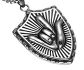 "SIGN LANGUAGE "" I LOVE YOU"" HAND NECKLACE STAINLESS STEEL 316L (SILVER)"