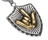 "SIGN LANGUAGE "" I LOVE YOU"" HAND NECKLACE STAINLESS STEEL 316L (TWO TONE)"