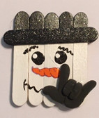 Snowman Wood Stick Sign Hand I LOVE YOU  Magnet